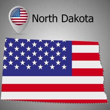 map of North Dakota on American flag. Map pointer with American flag. illustration