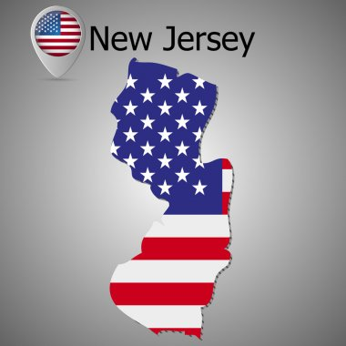 Map of New Jersey with American flag. Map pointer with American flag illustration