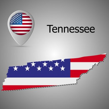 Map of Tennessee with American flag illustration. Map pointer with American flag.