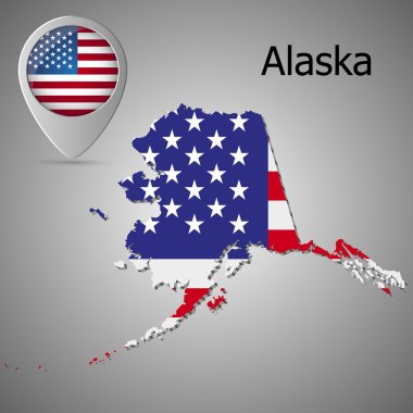 Map of the State of Alaska with American flag. Map pointer with American flag.