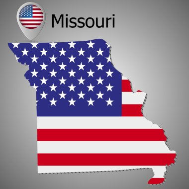 Map of the State of Missouri and American flag. Map pointer with American flag.