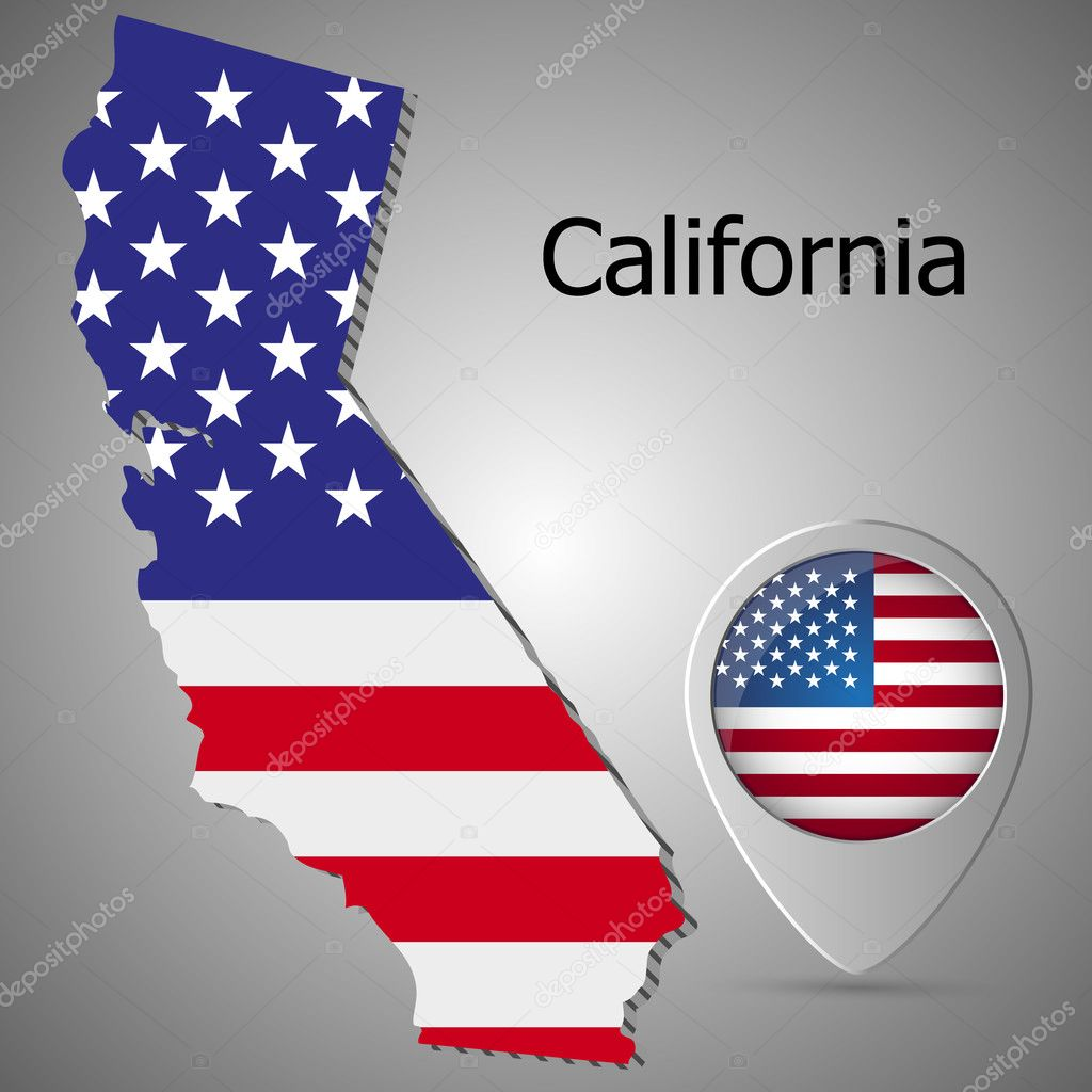 california map flag and map pointer with american flag vector ilration stock vector
