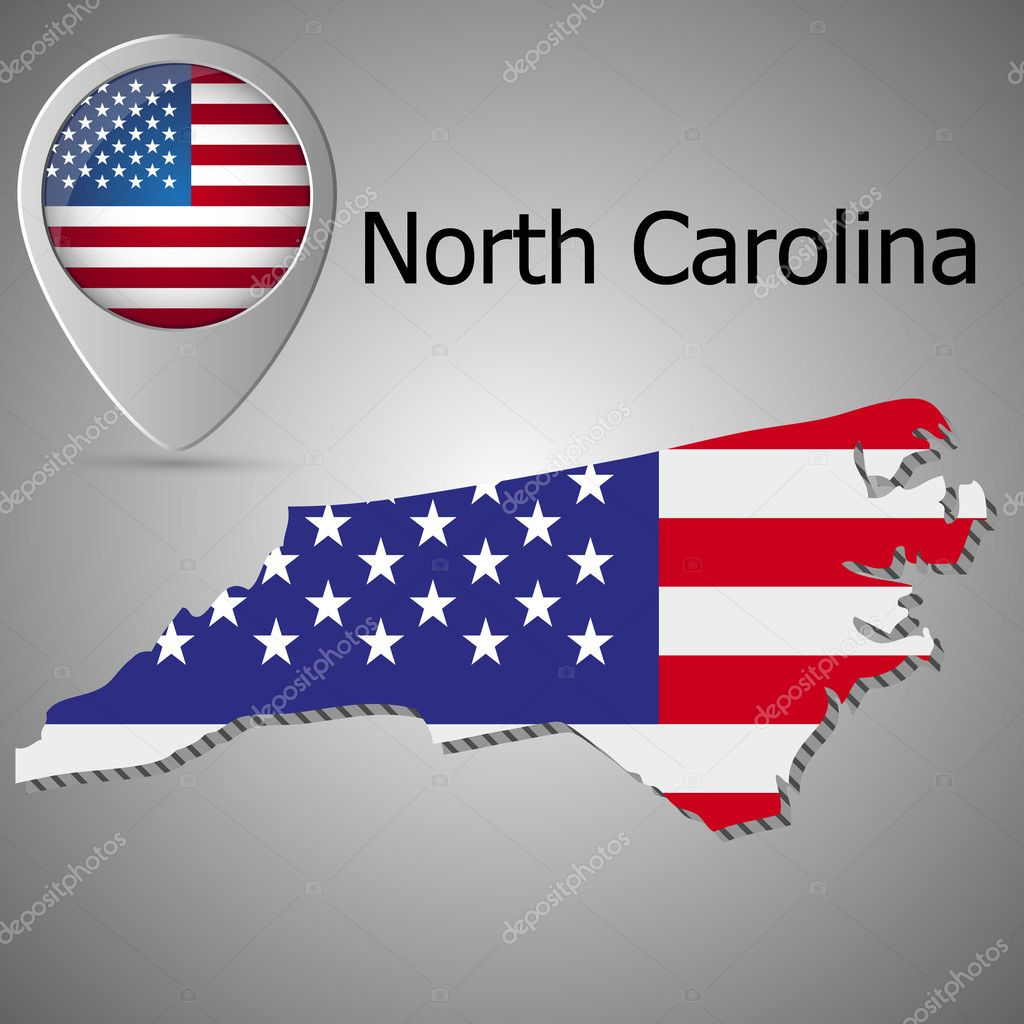 North Carolina State Map With Us Flag Inside And Map Pointer With - American-flag-us-map