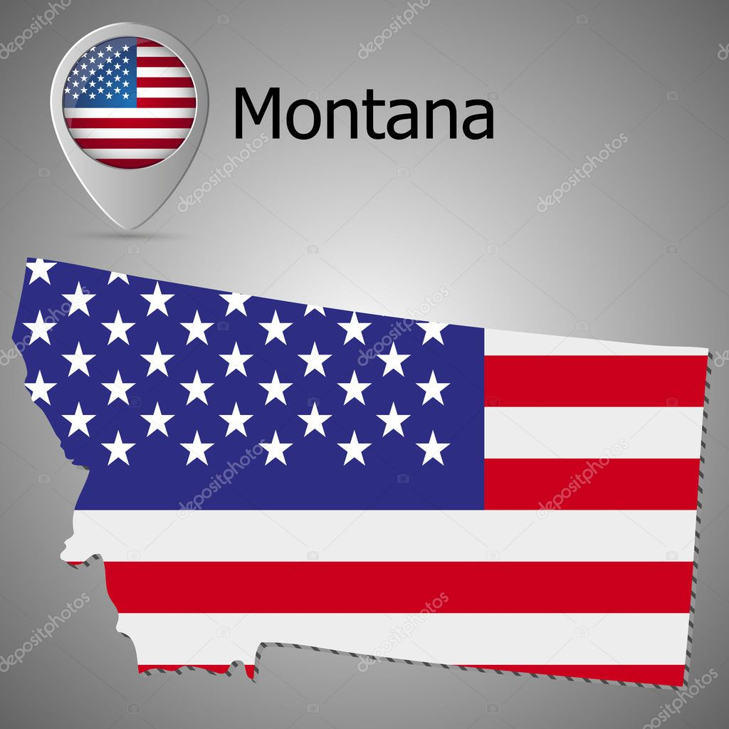 Montana State map with US flag inside and Map pointer with