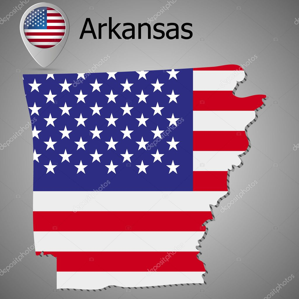 Arkansas State map with US flag inside and Map pointer with