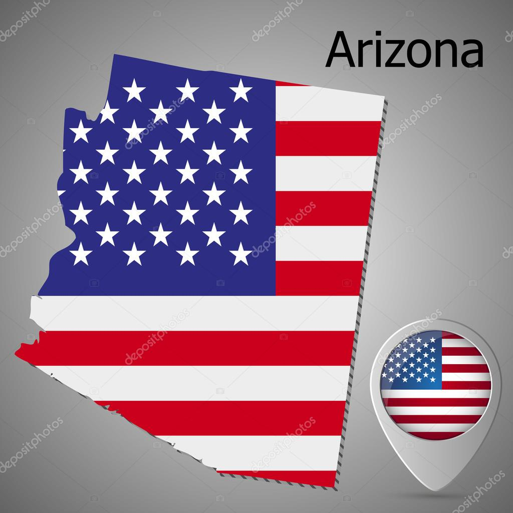 Arizona State map with US flag inside and Map pointer with American flag.