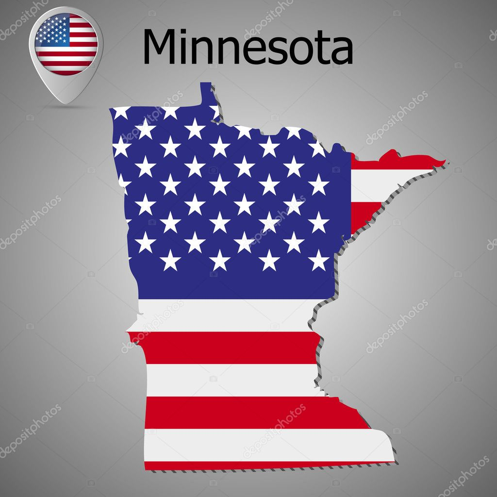 Minnesota State map with US flag inside and Map pointer with ... on us map north dakota, us map wisconsin, atlas map of minnesota, us map michigan, state map of minnesota, us map illinois, us map south dakota, show map of minnesota,