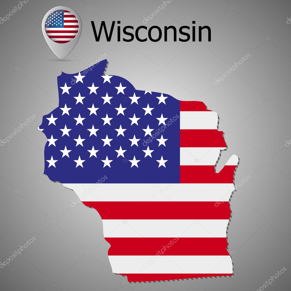 Wisconsin State Map With US Flag Inside And Map Pointer With - Us map american flag