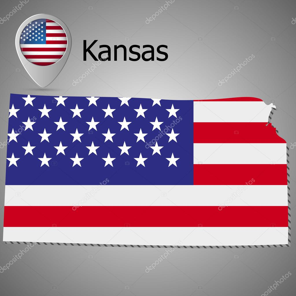Kansas State map with US flag inside and Map pointer with American ...