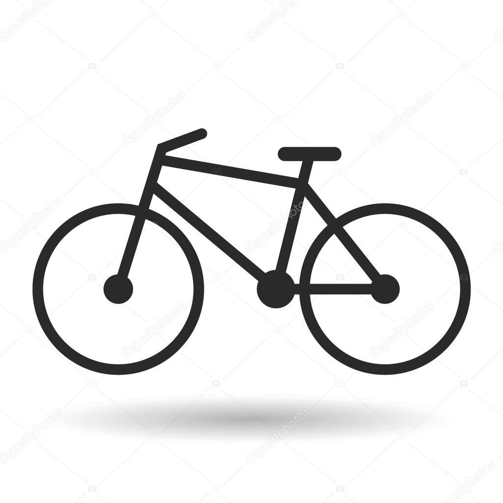 Icona Della Bicicletta Con Ombra Su Bianco Background Vector