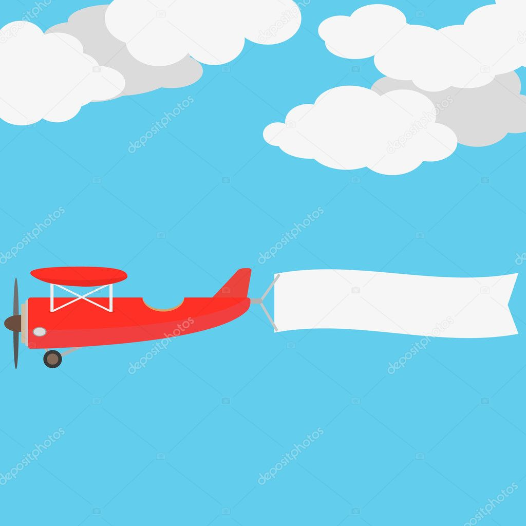Airplane Vintage With Banner For Your Slogan Vector Illustration By Kasheev