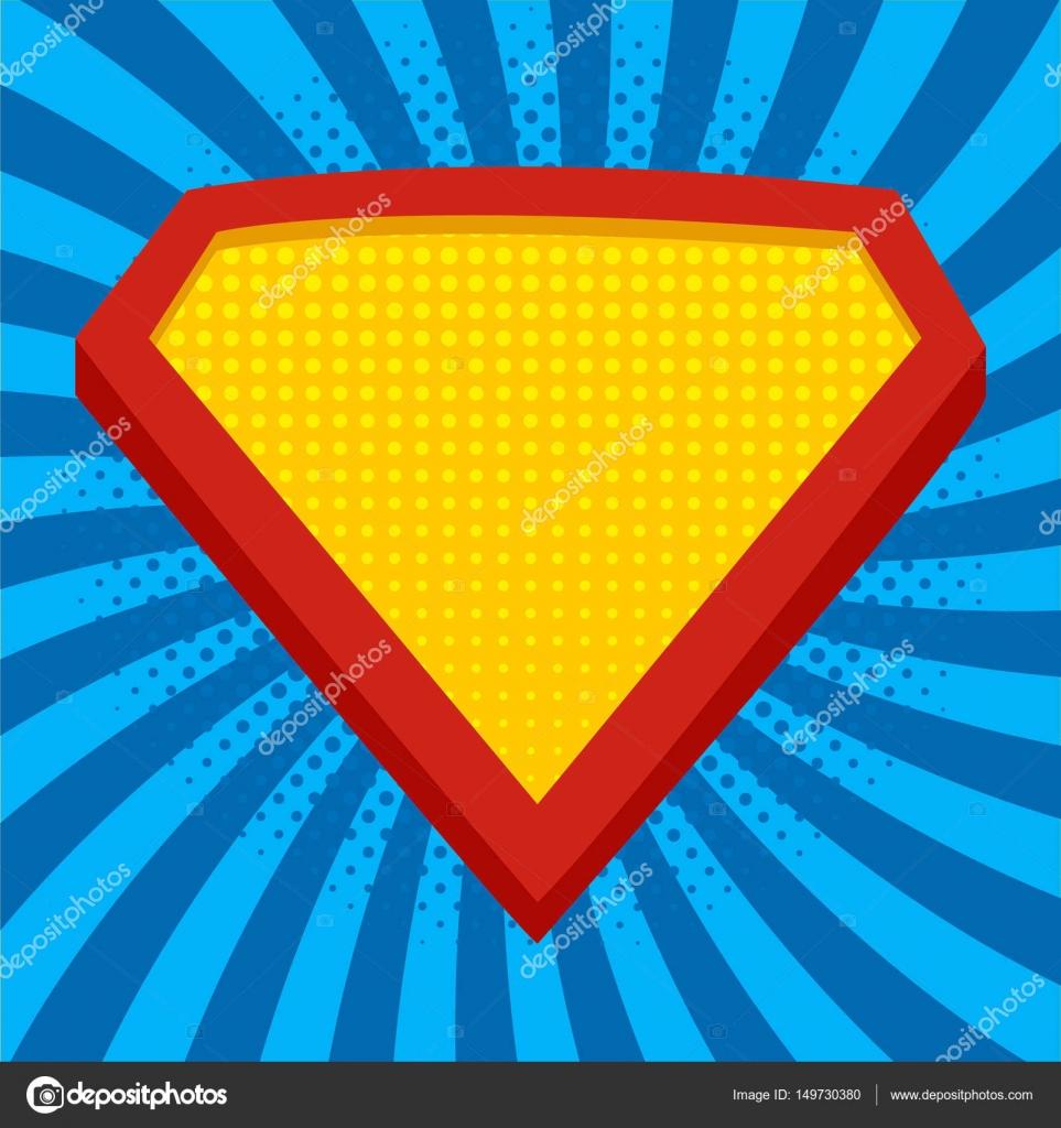 Superheld Logo Vorlage in hellem Blau, Pop-Art-Hintergrund. Vektor ...