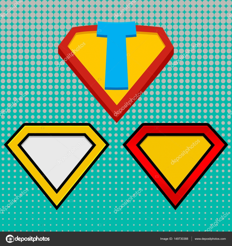 Superhelden-Logo-Vorlage. Rot, gelb und Orange. Rasterpunkte ...