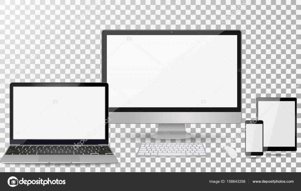 現実的なコンピューターのモニター ノート パソコン タブレット 分離