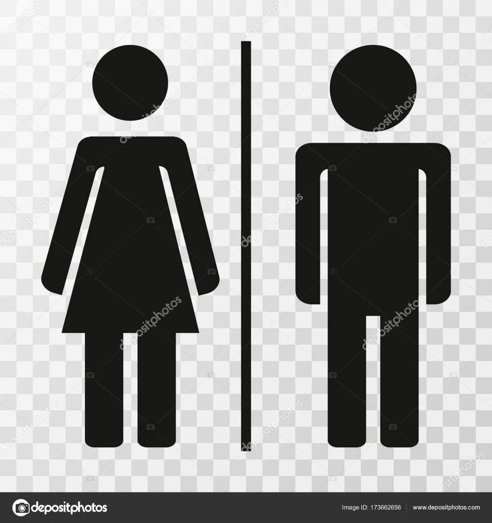 Male And Female Bathroom Sign Set On Transparent Background Stock - Male bathroom sign