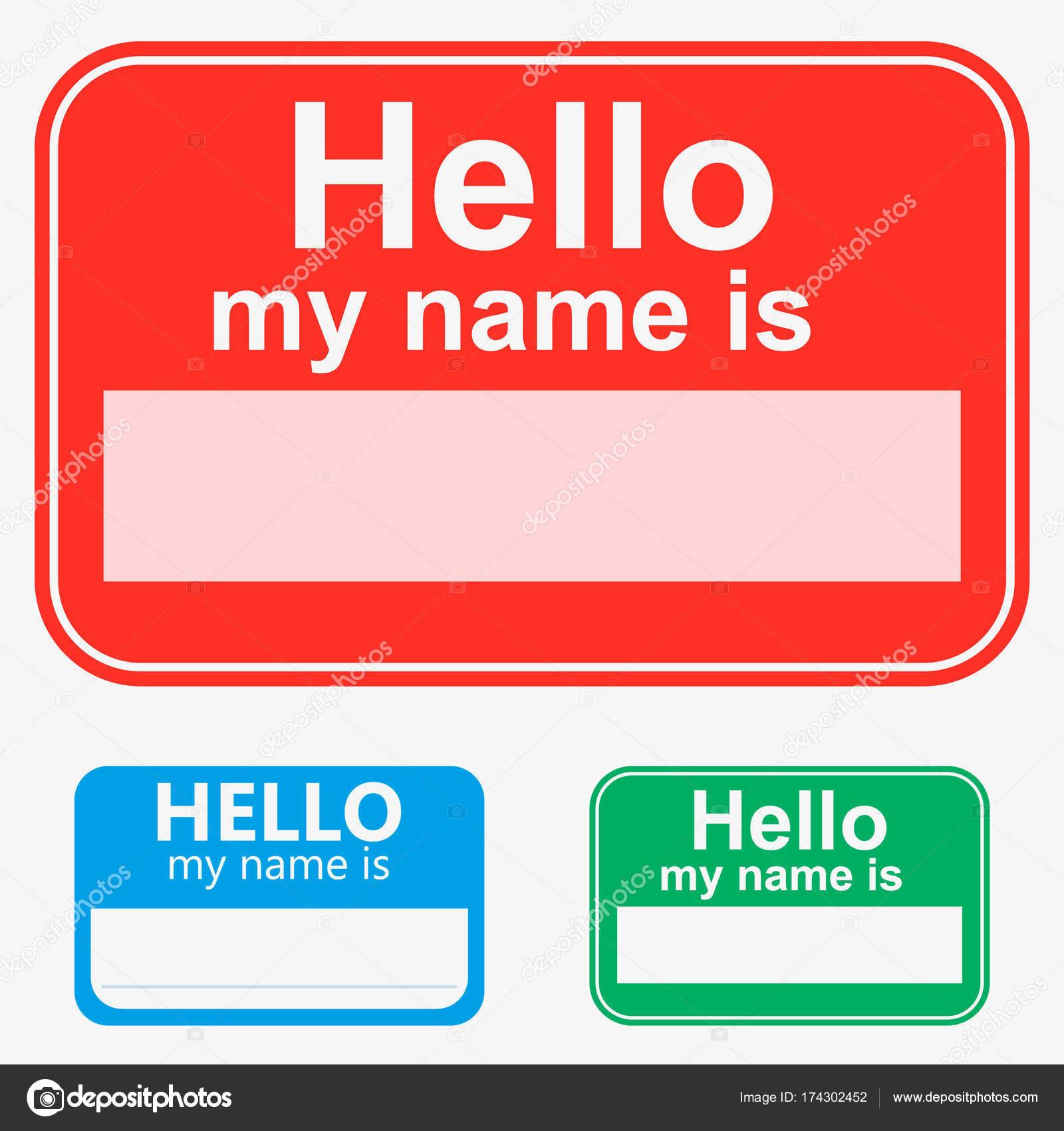 Rot Set Grün Blau Vektor Hello My Name Is Label