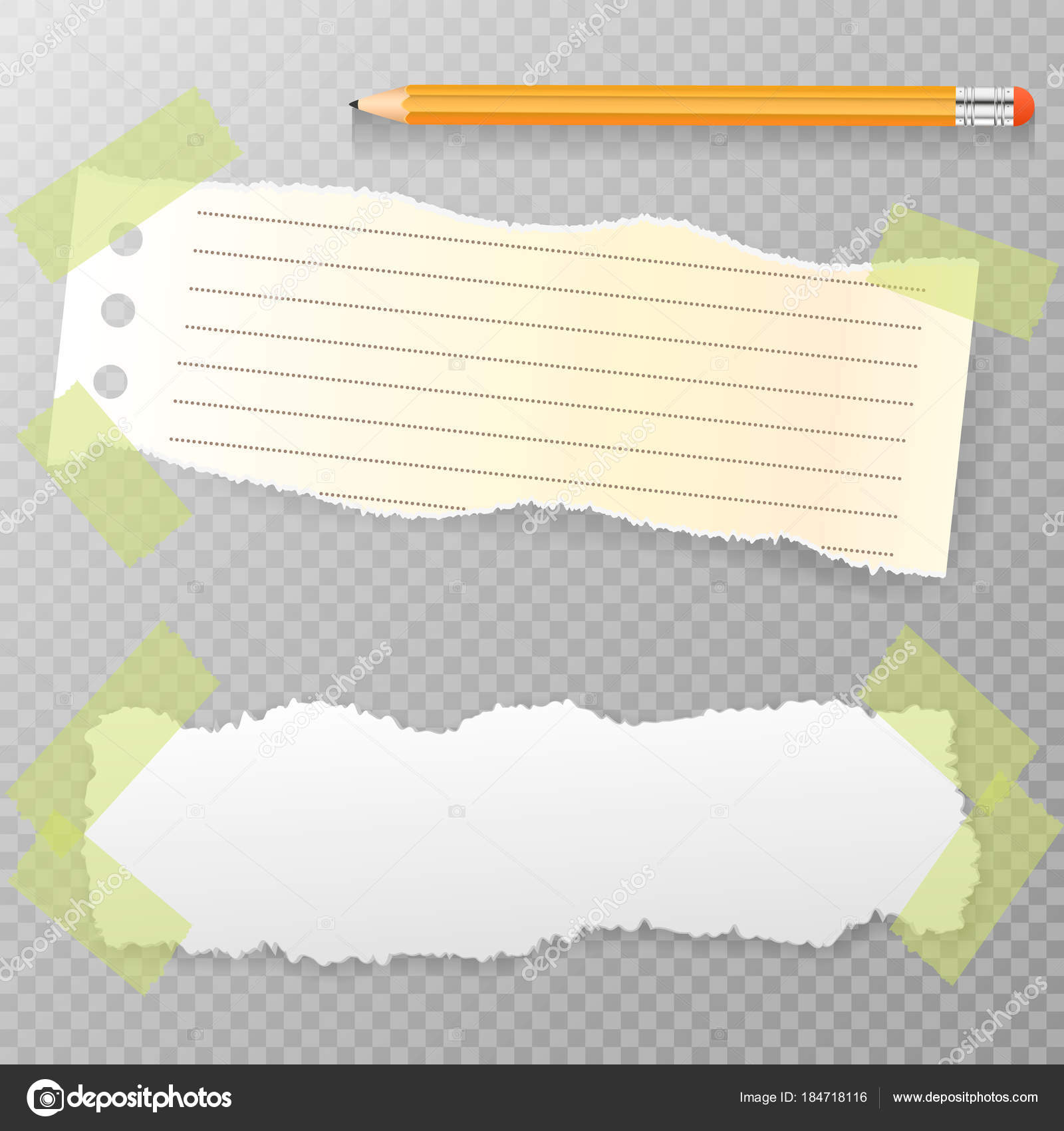 torn horizontal, note, notebook, copybook paper strips, sheets for
