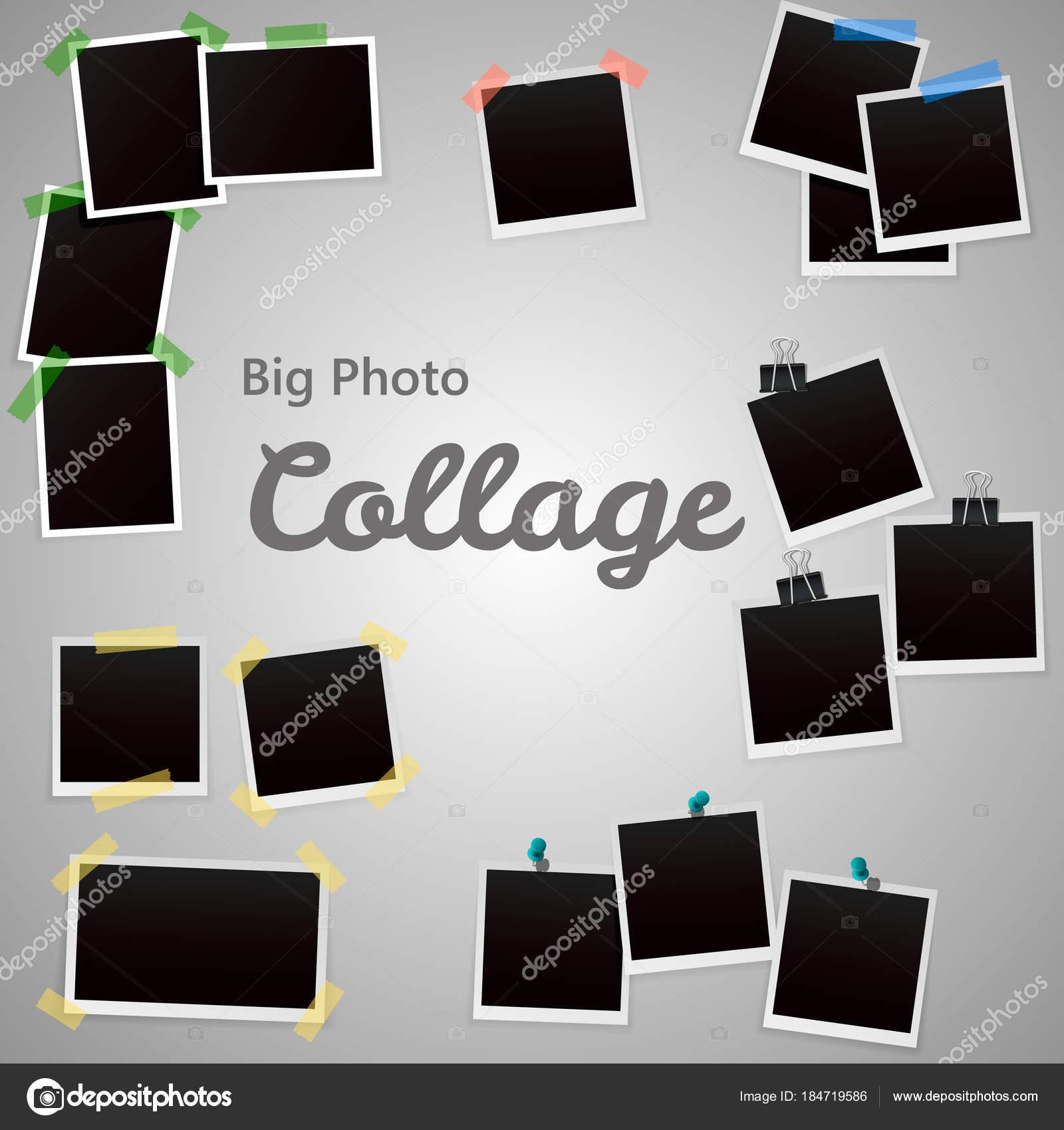 Plantilla de collage de foto Polaroid. Conjunto de collage de fotos ...