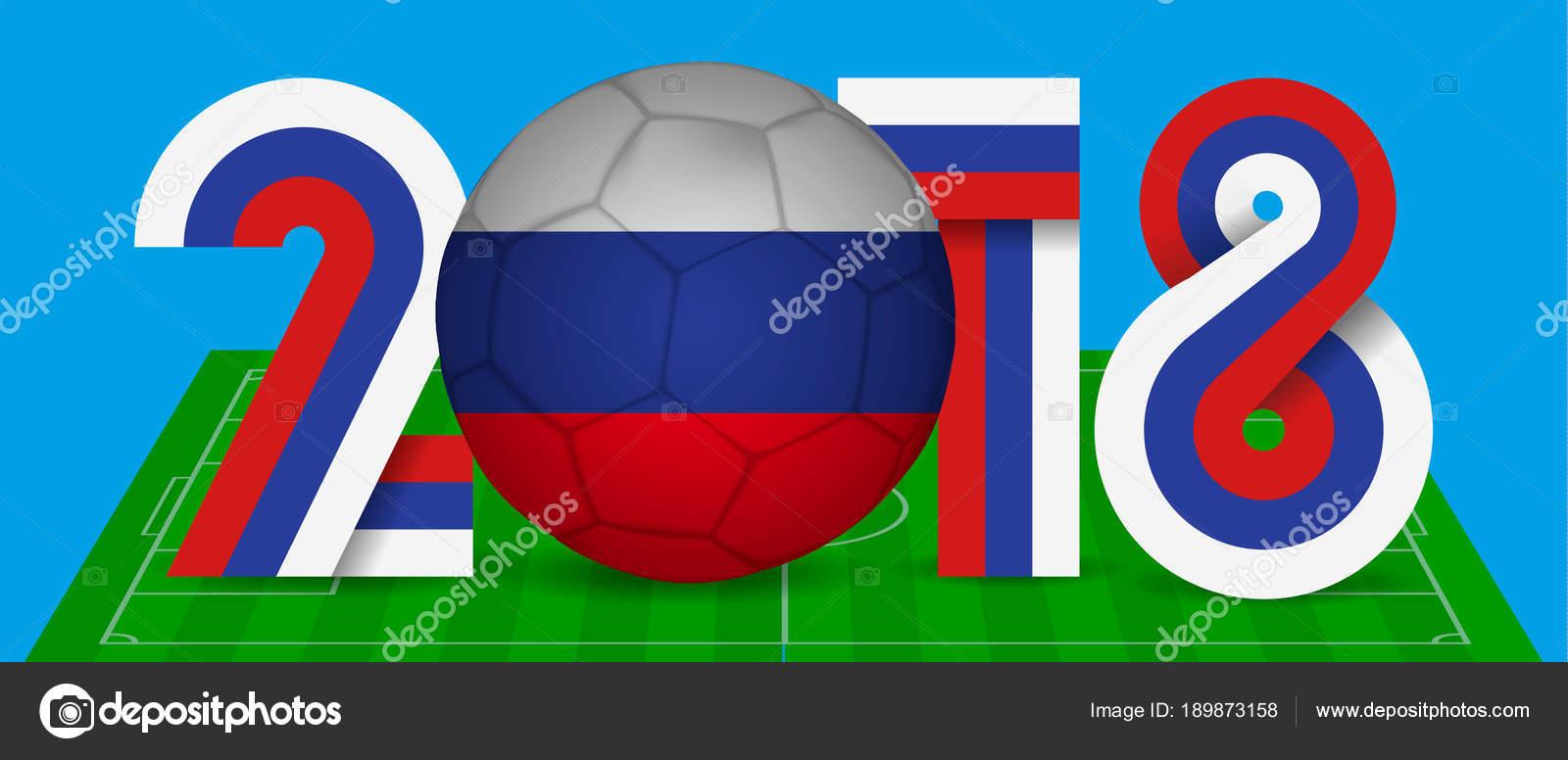 Anzahl 2018 und Fußball in den Farben der Flagge Russlands. Vektor ...