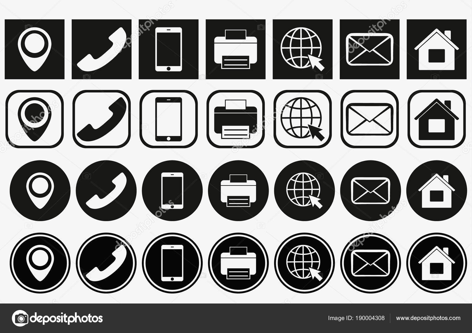 Vector Business Card Contact Information Icons Set