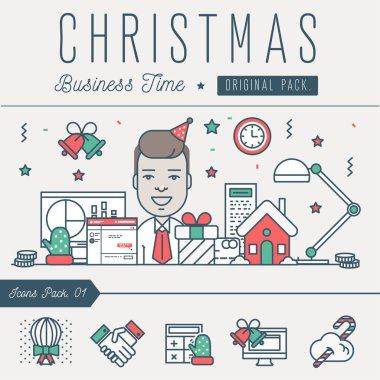 Modern excellent happy christmas business time.
