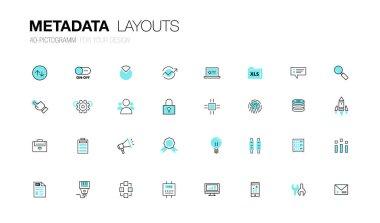 Metadata trendy modern thin line icons set development
