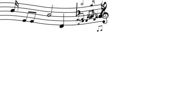 Zenei jegyzetek a fehér háttér előtt. 4k