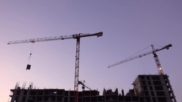 Crane works at construction site