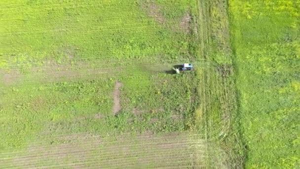 Madártávlat nézete. Traktor mezőben mows fű. Helikopter.