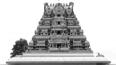 Exterior Traditional Hindu temple, Black and white