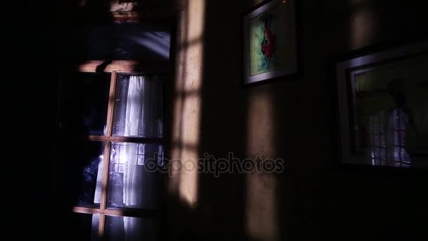 Sombra de una mujer contra el cuarto oscuro de la pared — Vídeo de ...