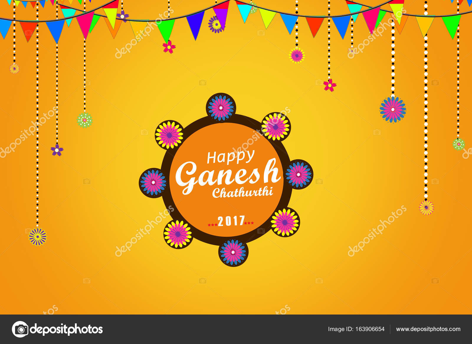 Happy ganesh chaturthi festival greeting card or poster design happy ganesh chaturthi festival greeting card or poster design stock photo m4hsunfo