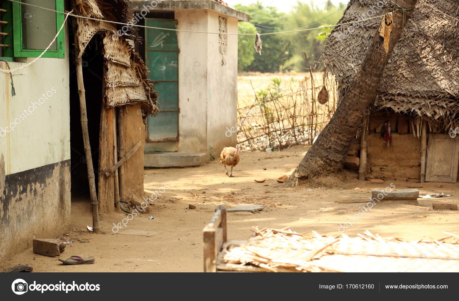 Indian Village Huts Stock Photo