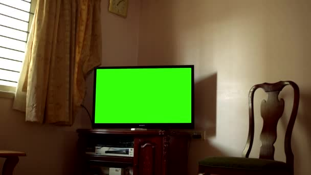 Chennai India May 09 2017 Green Screen Tv In A Living Room Video By Avpk Stock Footage 182888990