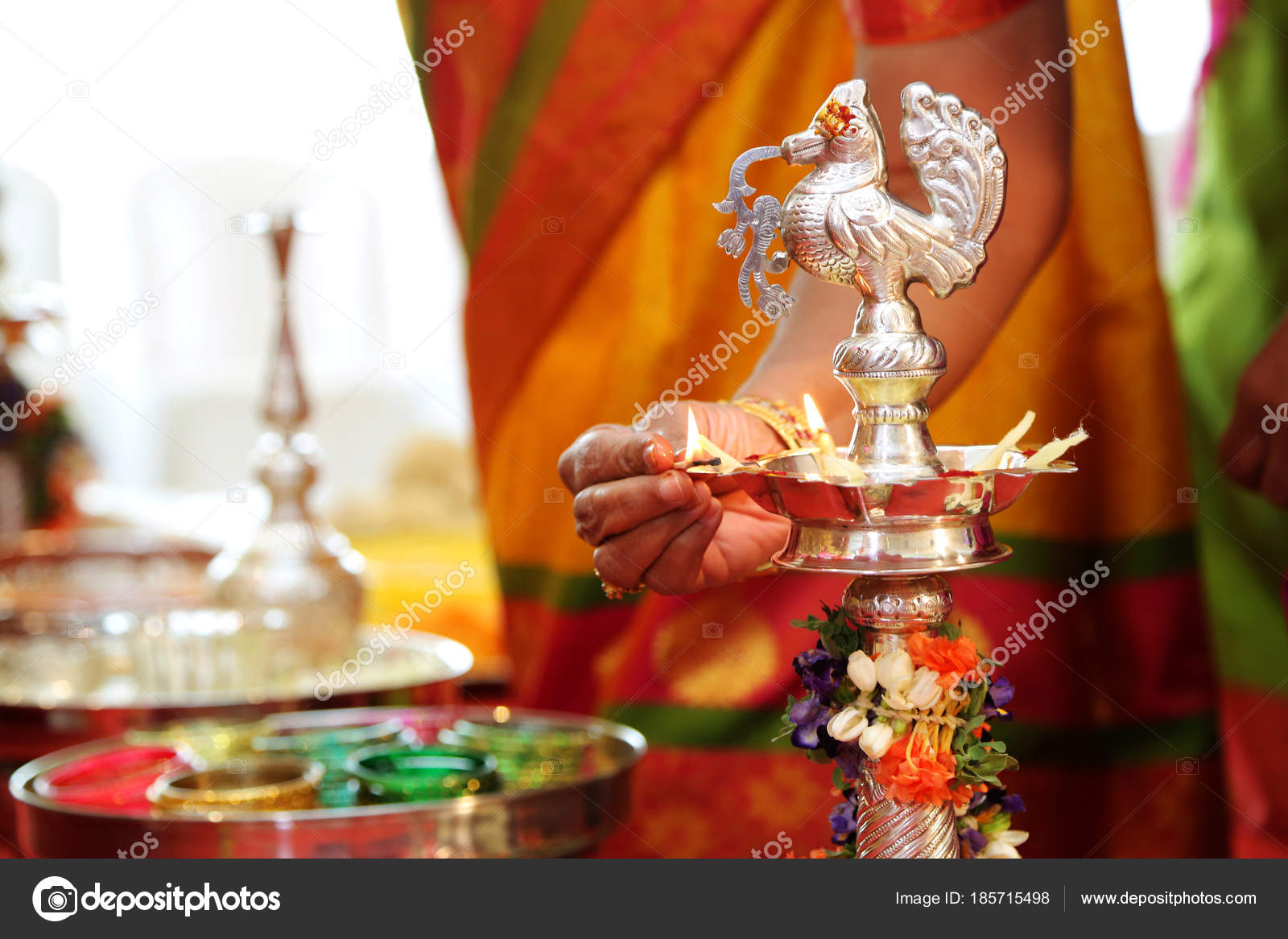 Hindu Wedding Rituals Traditional South Indian Brass Oil