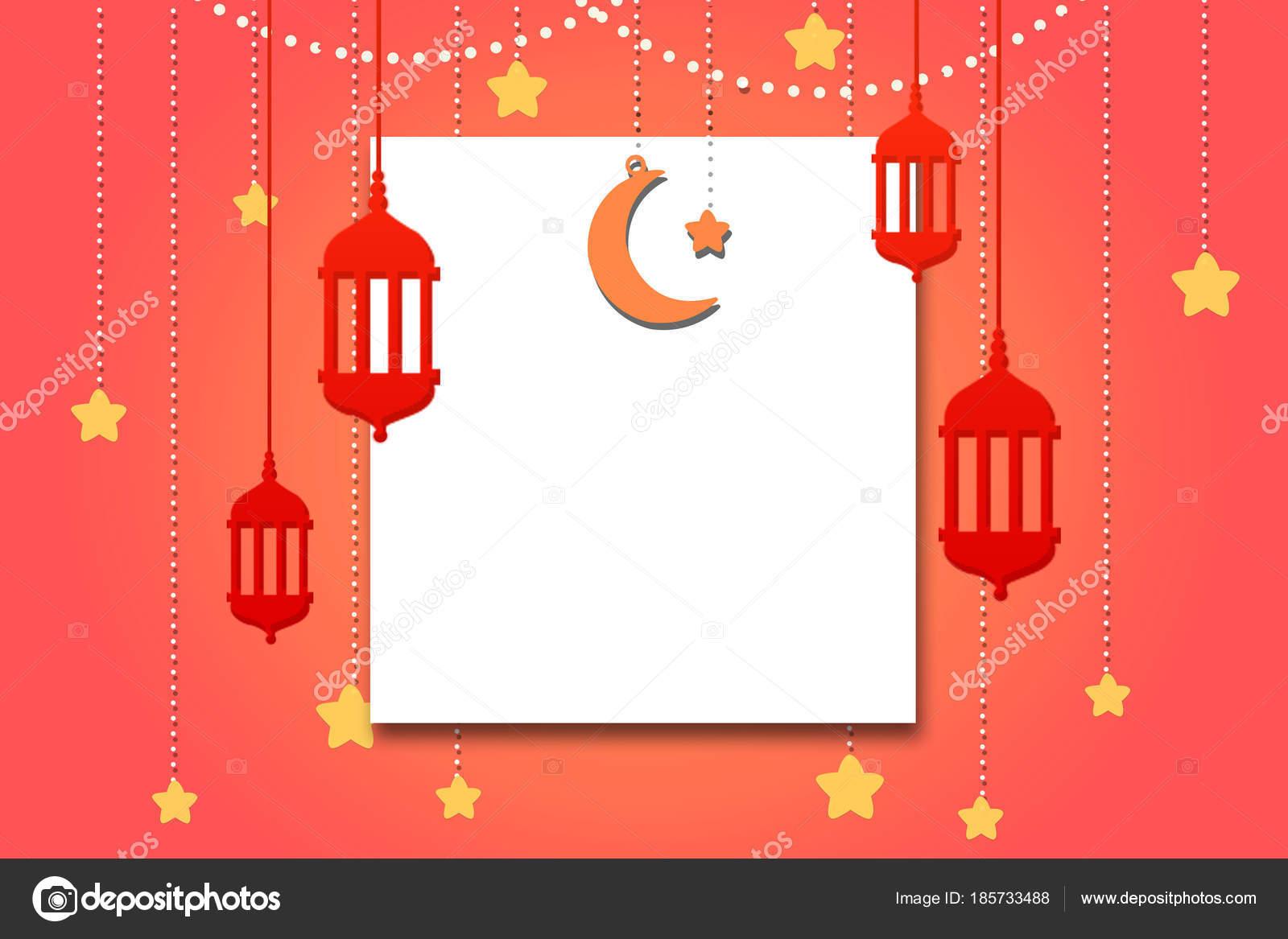 Illustration Of Eid Ul Adha Eid Mubarak Concept Banner With Moon