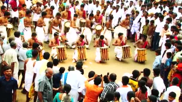 MADURAI, INDIA - APRIL 20th, 2015: Chenda Melam Temple Musics Playing With Traditional Drums By Lot Of Artists In Temple