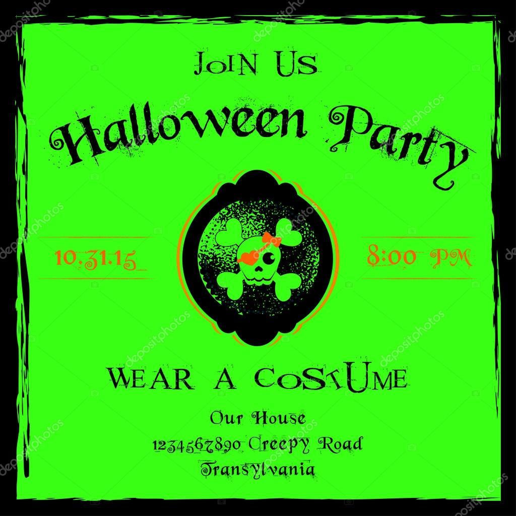 Neon green and black Halloween party invitation card template in ...