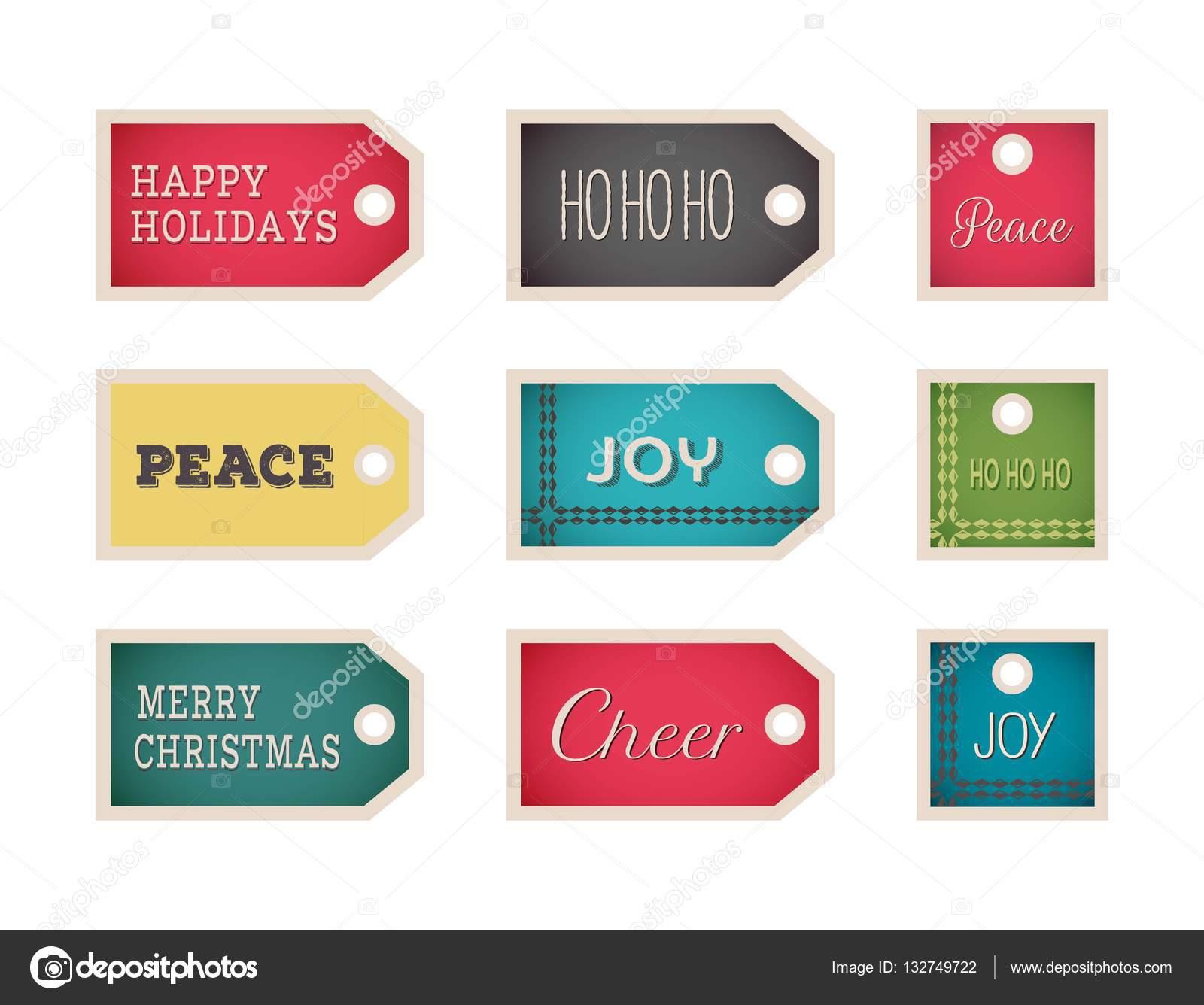 Christmas Gift Tags Template.Christmas Gift Tags Template Set Vector Holiday Design