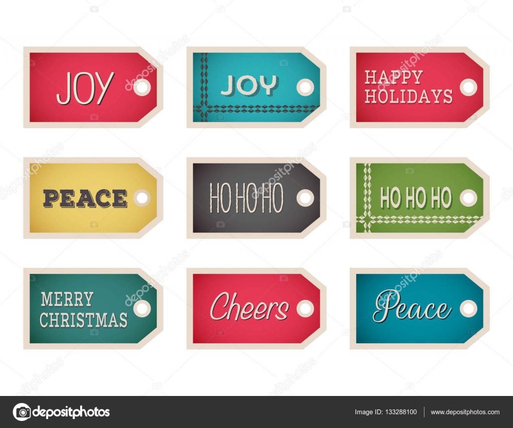 christmas gift tags template set vector holiday design elements