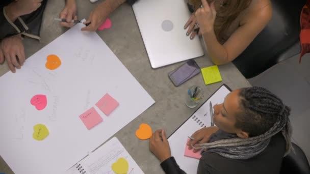 A multi racial group of millennials plan a business idea on paper - overhead