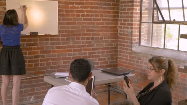 Woman gives white board lecture presentation while no one is listening