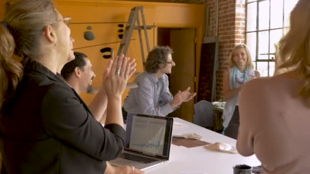 Startup business team celebrating successful growth applauding and clapping
