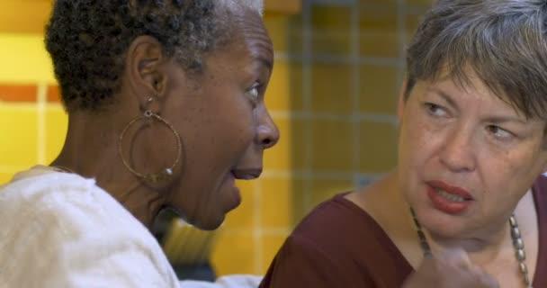 Africká americká žena klábosení s ženou v 60ti