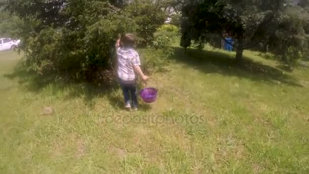 Enthusiastic young boy running and finding Easter eggs on a Easter egg hunt