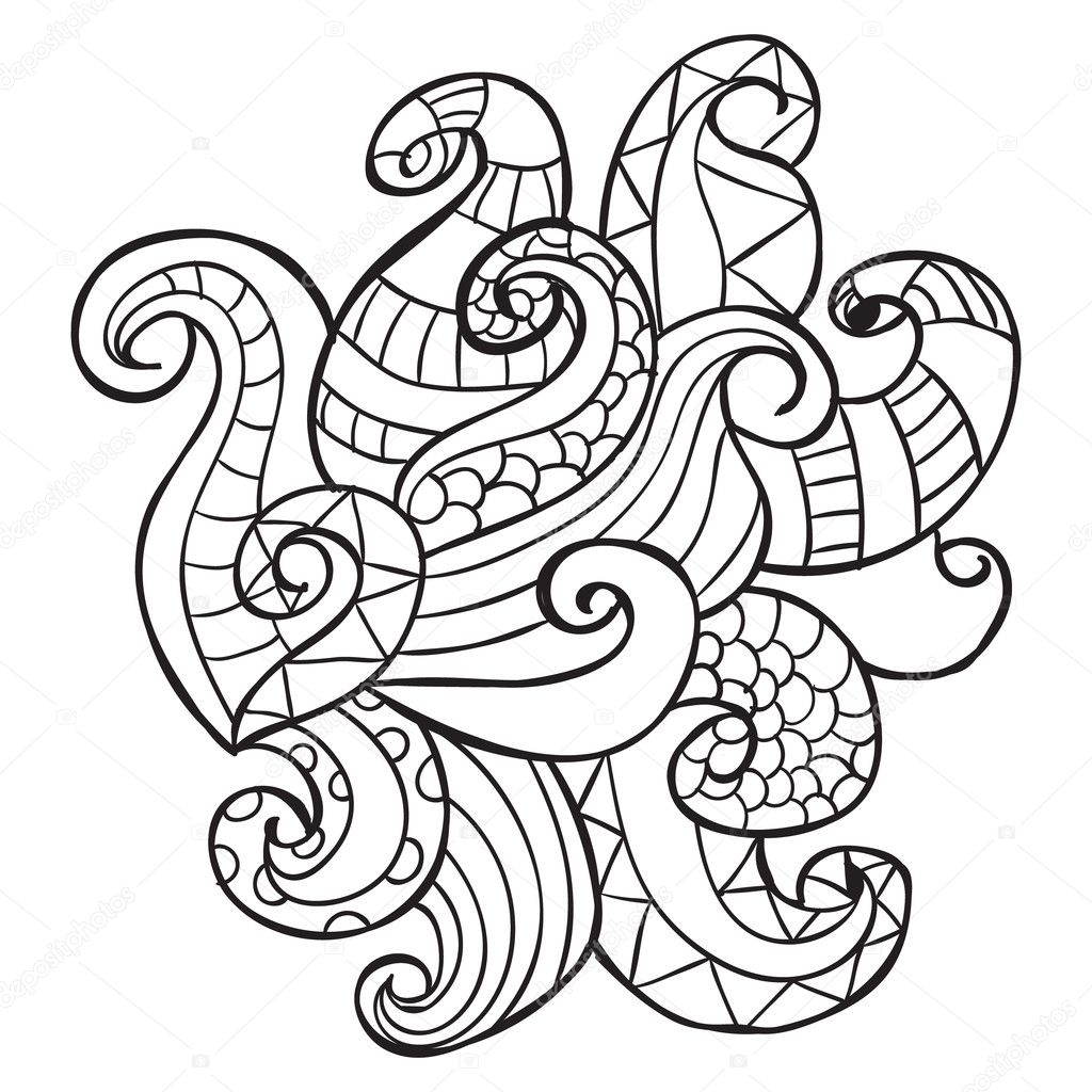 Mano dibujada artística étnicos ornamentales con motivos floral ...