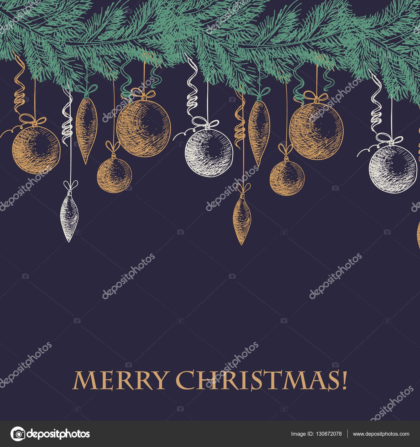 Hand gezeichnete Skizze Fell Ast mit Weihnachten und Neujahr ...