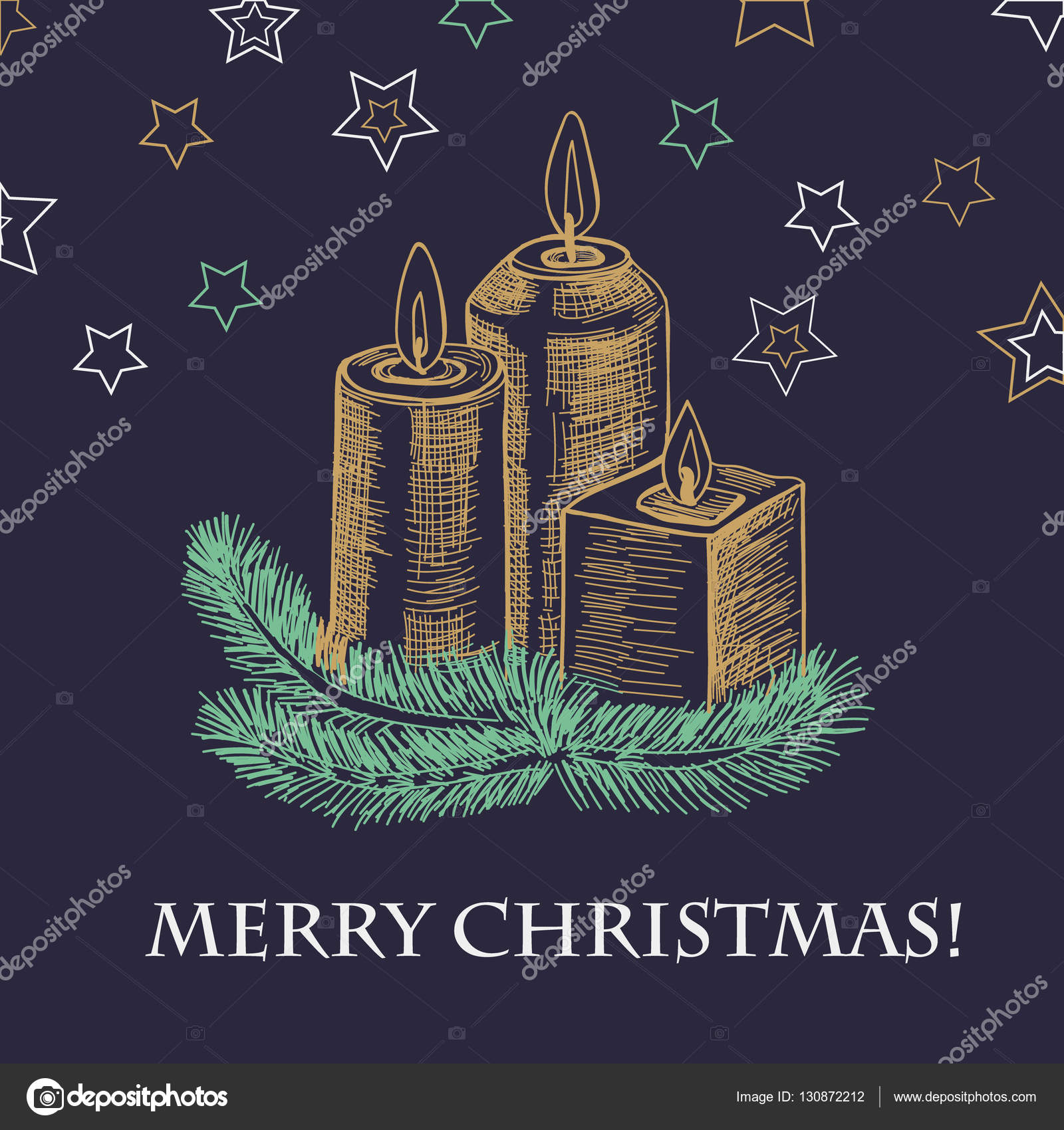 hand drawn sketch new year card with burning candle in christmas candlestick of fir branches colorful