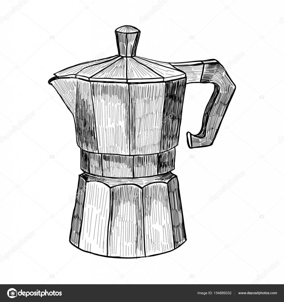 Sketch Of Coffee Maker Hand Drawn Illustration In Engraving Style For Menu Or Cafe
