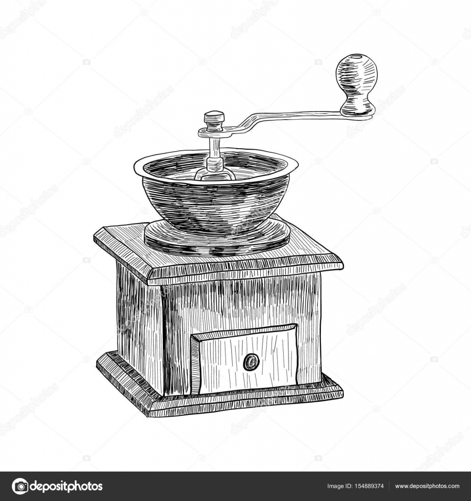 Coffee Grinder Drawing ~ Coffee grinder freehand pencil drawing isolated on white